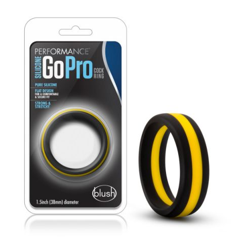 Performance Silicone Go Pro Cock Ring Black/Gold/Black